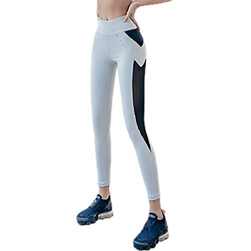 XLanY Leggings de Yoga de Malla de Cintura Alta para Mujer, Pantalones de Yoga a Prueba de Sentadillas para Entrenamiento con Control Abdomen, Pantalones Capris para Correr no Transparentes,Gris,M