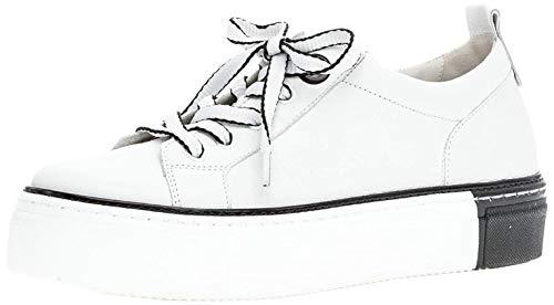 Gabor Damen Sneaker, Frauen Low-Top Sneaker,Best Fitting,Optifit- Wechselfußbett, leger Halbschuh strassenschuh Damen,Weiss/schwarz,37.5 EU / 4.5 UK