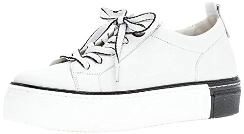 Gabor Damen Sneaker, Frauen Low-Top Sneaker,Best Fitting,Optifit- Wechselfußbett, strassenschuh schnürer schnürschuh,Weiss/schwarz,43 EU / 9 UK