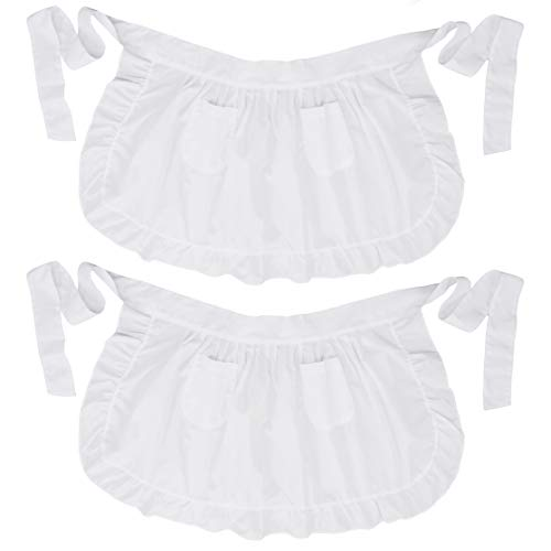 LilMents Twin Pack Retro Kitchen Ruffles Waist Apron with Pockets (White)