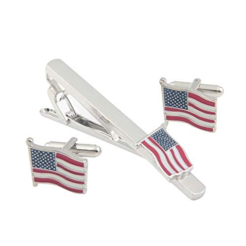 TENDYCOCO Independence Day Zubehör Krawattenklammer Und Manschettenknopf Set USA Flagge Krawatte Verschluss Amerikanische Flagge Krawatte Reißnägel für Männer