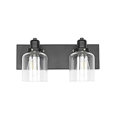 KLSS 2-Light Bathroom Vanity Light,Industrial Wall Sconce Bathroom Lighting Fixture,Matte Black Finish,Clear Glass Shade,E26,15.7inch