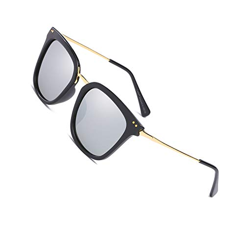 Cyxus Retro Gafas de Sol Mujer Polarizadas, Gafas de Sol para Mujer UV400 Protection - Stylo Ojos de Gato (Lens Plateado/Marco Negro)