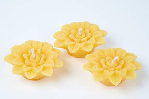 Imkerei Freese Schwimmkerze Motiv Blume aus 100% Bienenwachs - 3 Stück