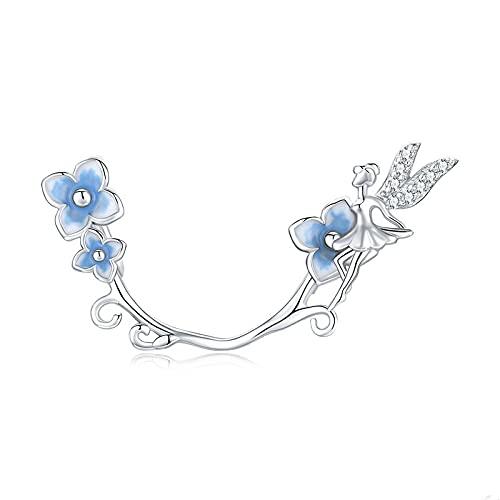 LIJIAN DIY 925 Sterling Jewelry Charm Beads Hydrangeas Blue Flower Fairy Hope Hacer Originales Pandora Collares Pulseras Y Tobilleras Regalos para Mujeres