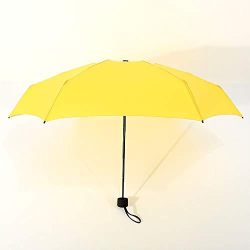 MAWA Mini Paraguas De Bolsillo para Mujer UV Paraguas Pequeños 180g Lluvia Mujer Impermeable para Hombre Parasol para El Sol Práctico Viaje para Niñas Parapluie Kid - Amarillo, a1