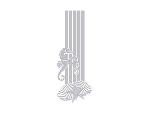 GRAZDesign Fenstertattoo Streifen mit Seepferdchen Muscheln, Fensterfolie für Badezimmer, Glastattoo für Dusche maritim / 79x30cm