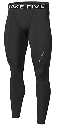 New Men Sports Apparel Skin Tights Compression Base Under Layer Long Pants (M, NP501 BLACK)