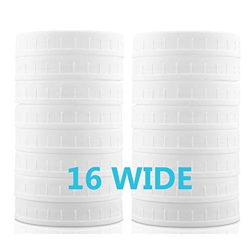 WIDE Mouth Mason Jar Lids [16 Pack] for Ball, Kerr and More - Food Grade White Plastic Storage Caps for Mason/Canning Jars - Leak-Proof & Anti-Scratch Resistant Surface