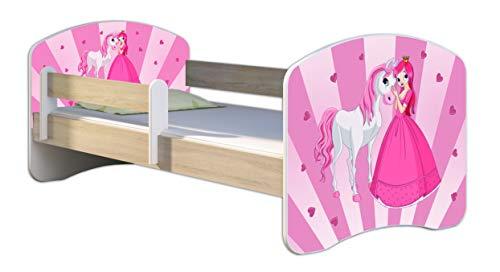 ACMA Letto per Bambino Cameretta per Bambino con Materasso Cassetto II Rovere Sonoma (08 La principessa con il pony, 160x80)