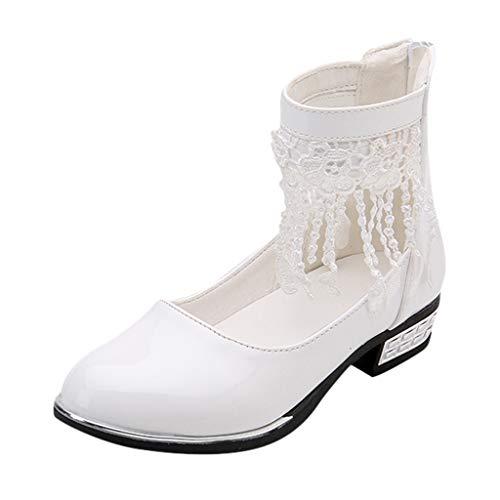 HDUFGJ Kinder Kleinkind Schuhe Infant Baby Mädchen Spitze Leder Einzelne Schuhe Party Prinzessin Schuhe 28 EU(Weiß)