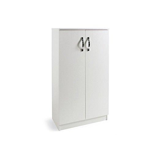 WEBMARKETPOINT Armadio scarpiera Bianco Mobile Due Ante Multiuso 3 Ripiani cm130x71x38