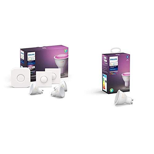 Philips Hue White and Color Ambiance Pack de 3 Bombillas LED inteligentes GU10, puente de conexión y 2 Smart Buttons + Philips Hue White and Color Ambiance Bombilla LED inteligente GU10
