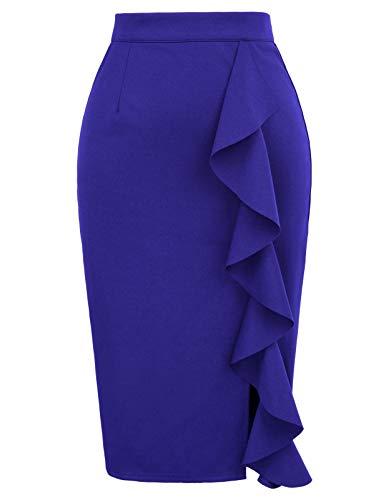 Women's Ruffle Bodycon Knee Length Midi Pencil Skirt XXL Blue