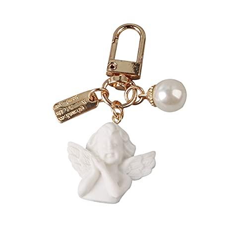 Llavero Creativo Vintage blanco Ángel llavero mujer niña lindo Mini perla corazón...