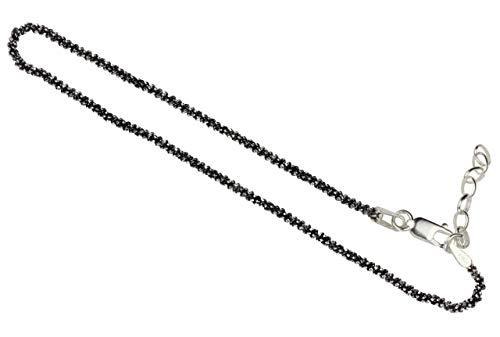 SILBERMOOS Damen Armband Criss-Cross geschwärzt diamantiert 1,4 mm außergewöhnliches Geflecht 18 cm + Verlängerung Qualitätsarmband aus Italien 925 Sterling Silber