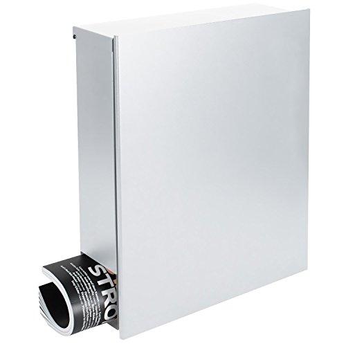 MOCAVI Box 111 Design-Briefkasten mit Zeitungsfach weiß (ral9003 signalweiß matt) Wandbriefkasten großer Postkasten 12 l