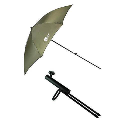 Zite Fishing Angelschirm-Set mit Schirmständer - Großer 250D Regenschirm Sonnenschirm mit Schirm-Stütze für Angler