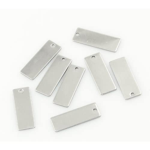 10 Stainless Steel Rectangle Stamping Blanks with Hole 40mm X 9mm Bar Metal Blanks