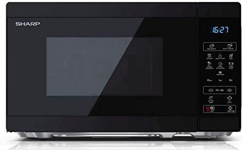 SHARP YC-MS02EB Mikrowelle mit Auftaufunktion/ 800 Watt/ 20 Liter/ 11 Leistungsstufen/ECO/Timer-Funktion/Kindersicherung/Inkl. Drehteller, Displaysteuerung