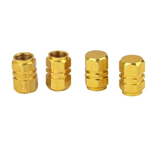 Sungpunet 4 tapones de válvula de coche de aleación de aluminio para neumáticos de coche, válvula de aire, cubierta de válvula de aire, color dorado