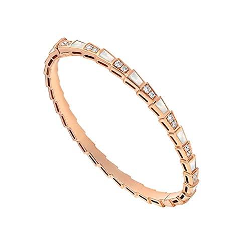 chushi Pulsera Oro de Rosa con Pulsera de zircón de Diamante Abierto de Damas Pulsera Elegante y Exquisita joyería I Pulsera de Amistad Zzib (Color : E)