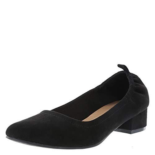 Brash Blacksuede Women's Abby Long Vamp Scrunch Heel 12 Regular
