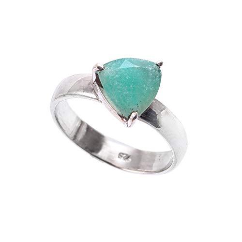 Anillo de piedras preciosas de aguamarina natural | Anillo de plata de ley 925 | Anillo de regalo para mujer | Anillo de piedras preciosas | Anillo de compromiso | Tamaño del anillo 6 EE. UU.