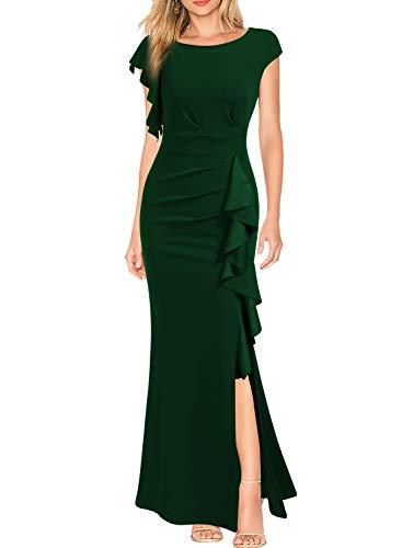 WOOSEA Women's Split Bodycon Mermaid Evening Cocktail Long Dress Green