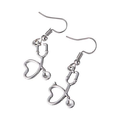 ifundom 1 par de Pendientes de Enfermera con Diseño de Corazón Novedad Diseño de Corazón Pendientes de Forma de Corazón Hipoalergénicos Clips Pendiente Simulado Regalo de Joyería para