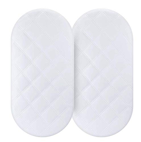 Waterproof Bassinet Mattress Pad Cover 2 Pack Fit for Hourglass/Oval Bassinet Mattress Baby Bassinet Mattress Protector for Boys & Girls by YOOFOSS