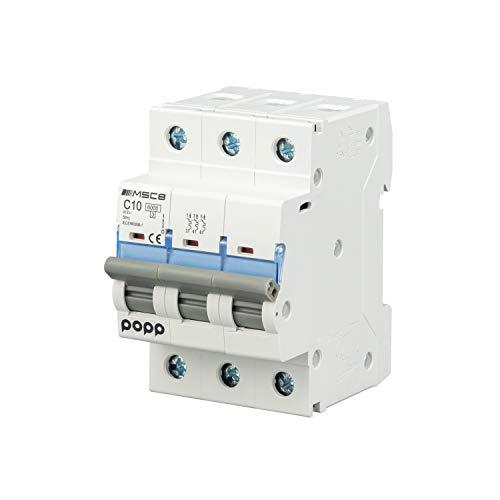POPP Interruptor Automático Magnetotérmico 3P serie MSC83 gama Industrial CURVA C corte 6000A 6A,10A,16A,20A,25A,32A,40A,63A Pack 4,8 (10A, Pack 8)