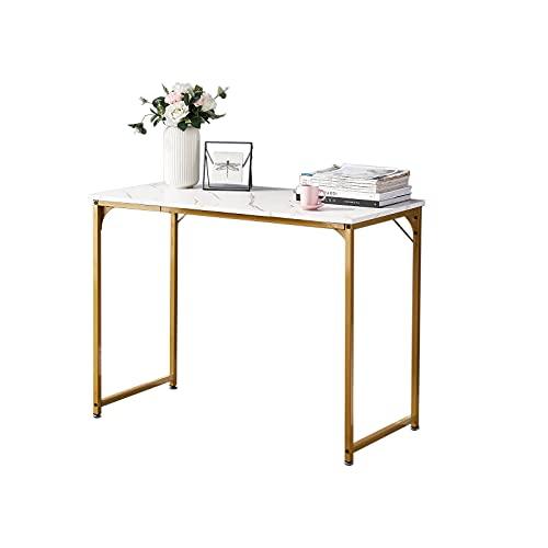 Symylife Escritorio, Mesa de Ordenador pequeña, Mesa de Oficina de Estilo Industrial, 100x50x74cm, Mesa de Trabajo para Habitaciones pequeñas, Diseño Empalmado, Patas de Metal Dorado, Marmolado