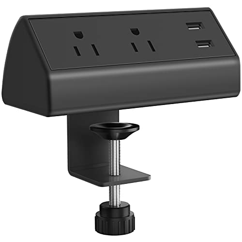 CCCEI Desk Clamp Power Strip with USB Ports, 800J Surge Protector on Desktop Mount Power Strip, Fit 1.6 inch Tabletop Edge Thick. 6FT Power Cord, 125V 12A 1500W, 5V/3A. (Black)
