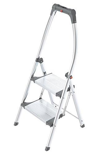 Hailo LivingStep Plus, Klapptritt, 2 Stufen, hoher Sicherheitshaltebügel, Füße mit Soft-Grip-Sohlen, belastbar bis 150 kg, 4302-201