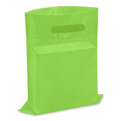 New - Extra Thick 1.5mil - 50 Glossy Merchandise Bags, Retail Shopping Bags, 9' X 12' with Die Cut Reinforced 3' Fold Over Handle, No Gusset (Lime Green)