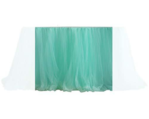 DSstyles 100cm X 80cm Mantel de Mesa de Tul Falda Cubierta de Mesa para la Decoración del Banquete de Boda (Verde)