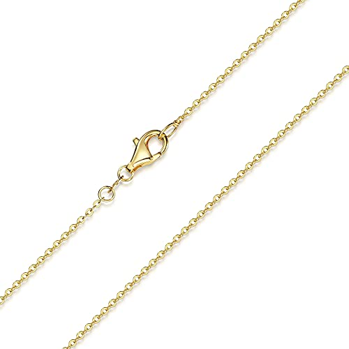 Materia K61 Catenina in argento sterling 925 con placcatura in oro, 1 mm, lunghezze disponibili: 40 - 80 cm e Argento, cod. #K61