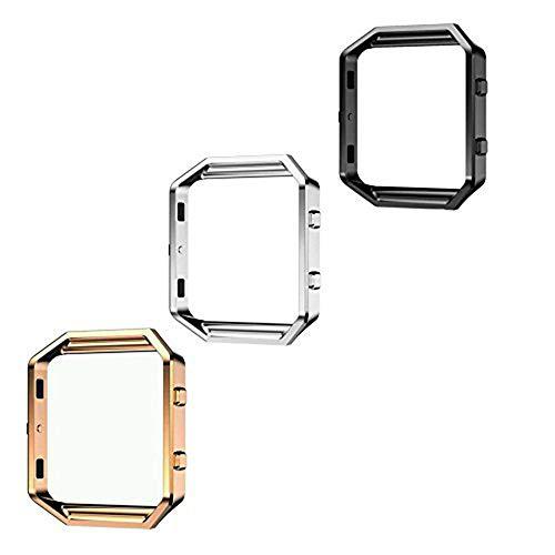 Mydio Set van 3 Vervangende Accessoire Stalen Frame Voor Fitbit Blaze Smart Watch,3 Kleuren(Zwart, Zilver en Rose Gold)