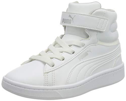 PUMA Vikky V2 Mid SL V PS, Zapatillas Niñas, Blanco White White Silver/Gray Violet, 32 EU