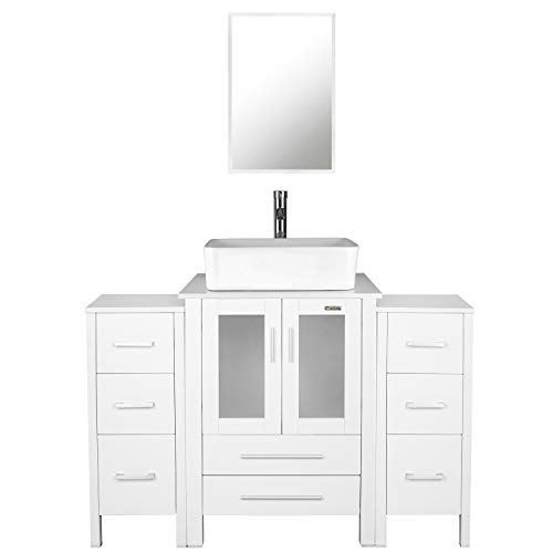 """eclife 48"""" Bathroom Vanity Sink Combo White W/Side Cabinet Vanity White Ceramic Vessel Sink and Chrome Bathroom Solid Brass Faucet and Pop Up Drain, W/Mirror (T032B11W)"""
