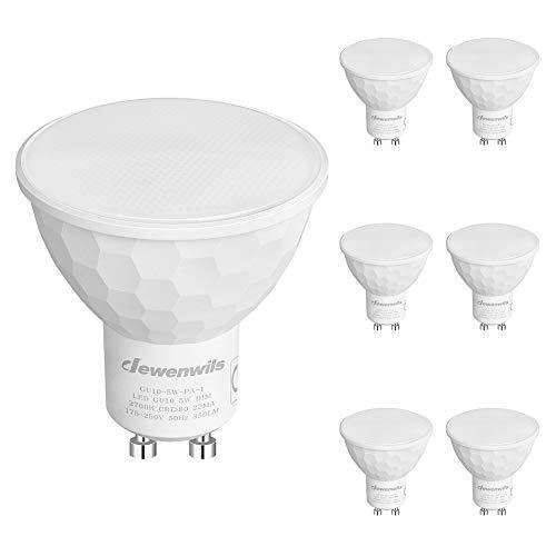 DEWENWILS GU10 LED Lampe Dimmbar, Warmweiss 2700K LED Glühbirne, 5W 350 Lumen, 120° Abstrahlwinkel, Ersatz für 50W Halogenlampen, 6er Pack, CE und RoHS zertifiziert