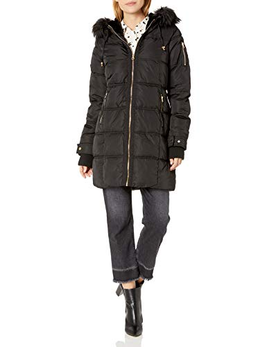 Womens Long Black Puffer Jacket with Faux Fur Hood