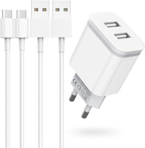 Niluoya Cargador y 2M Cable Micro USB, 3-Pack Móvil USB de Pared 2.1A/5V Dos Puerto Enchufe Replacement for Android, Samsung Galaxy S7 S6 S5 Edge J3 J5 J7 J8 A6, Redmi Note 5 4, Huawei, Sony, Tableta