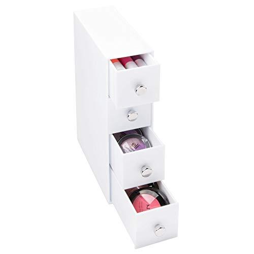 InterDesign Drawers boite-tiroirs, rangement salle de bain en plastique avec 4 tiroirs, boite rangement pour cosmétiques ou accessoires de bureau, blanc