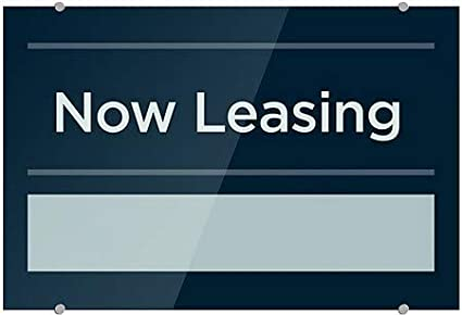 CGSignLab Now Leasing Basic Navy Premium Brushed Aluminum Sign 36x24