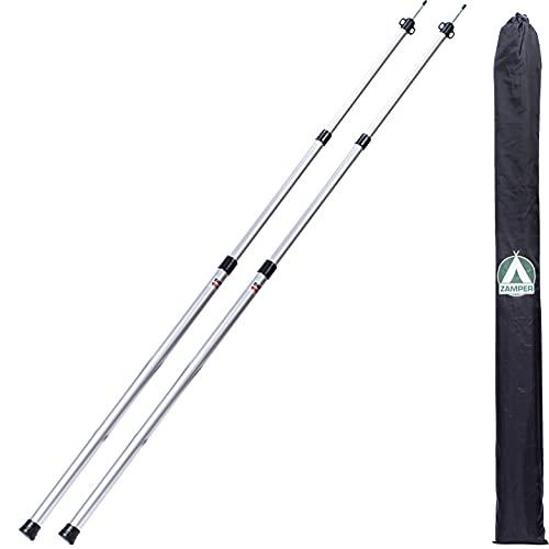 Zamper Teleskop-Stange 90-230cm - Aluminium Zeltstange auch für Tarp Sonnensegel Plane - Stangen-Set Garten Camping Terrasse & Mehr