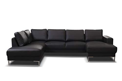 Küchen-Preisbombe TOP Sofa Couch Ecksofa Eckcouch Wohnlandschaft in Kunstleder schwarz- SILVIO XXL
