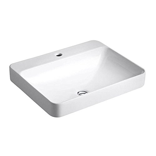 Kohler K-2660-1-0 Vitreous china Above counter Rectangular Bathroom Sink, 25.512 x 20.472 x 9.843 inches, White