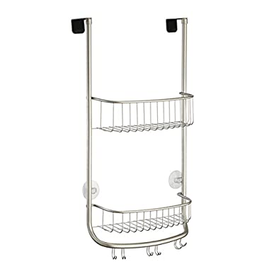 InterDesign Forma Over Door Shower Caddy – Bathroom Storage Shelves for Shampoo, Conditioner and Soap, Satin